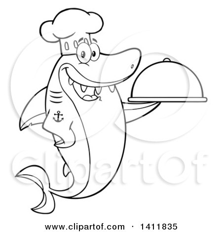 Clipart of a Cartoon Black and White Lineart Happy Chef Shark Mascot Character Holding a Cloche Platter - Royalty Free Vector Illustration by Hit Toon
