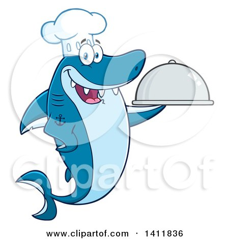 Clipart of a Cartoon Happy Chef Shark Mascot Character Holding a Cloche Platter - Royalty Free Vector Illustration by Hit Toon