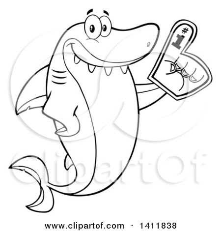 Clipart of a Cartoon Black and White Lineart Happy Shark Mascot Character Wearing a Foam Finger - Royalty Free Vector Illustration by Hit Toon
