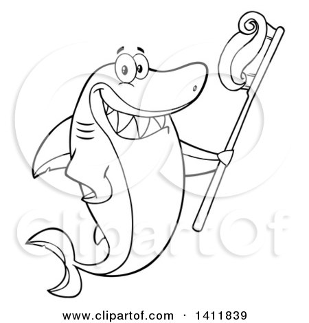 Clipart of a Cartoon Black and White Lineart Happy Shark Mascot Character Holding a Toothbrush - Royalty Free Vector Illustration by Hit Toon