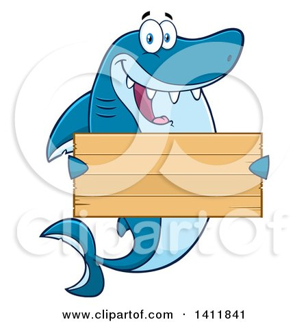 Clipart of a Cartoon Happy Shark Mascot Character Holding a Wooden Sign - Royalty Free Vector Illustration by Hit Toon