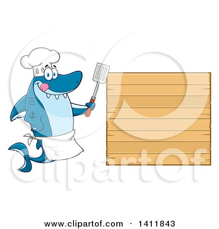 Clipart of a Cartoon Happy Shark Chef Mascot Character by a Wood Menu Sign - Royalty Free Vector Illustration by Hit Toon