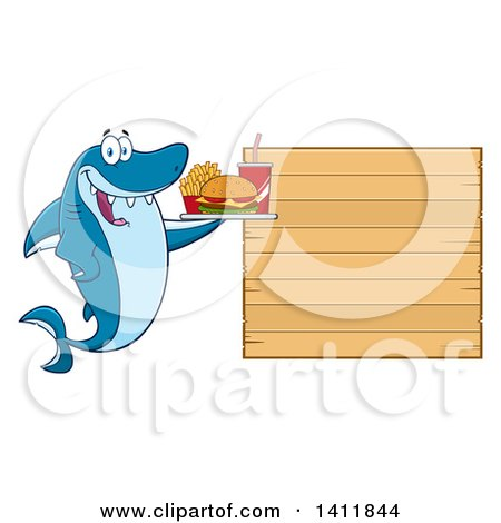 Clipart of a Cartoon Happy Shark Mascot Character Holding a Tray of Fast Food by a Blank Menu Board - Royalty Free Vector Illustration by Hit Toon