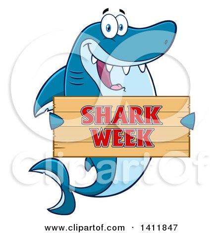 Clipart of a Cartoon Happy Shark Mascot Character Holding a Shark Week Sign - Royalty Free Vector Illustration by Hit Toon