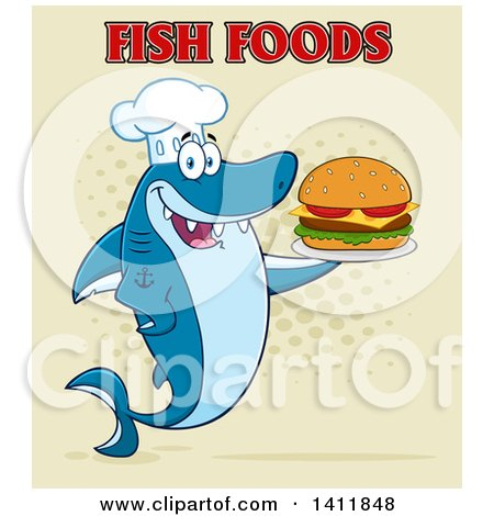 Clipart of a Cartoon Happy Shark Chef Mascot Character Serving a Cheeseburger, with Text on Halftone - Royalty Free Vector Illustration by Hit Toon