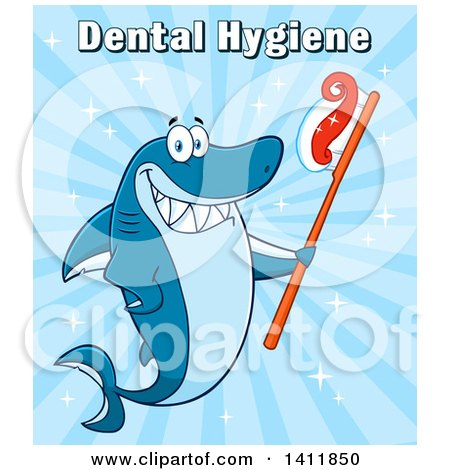 Clipart of a Cartoon Happy Shark Mascot Character Holding a Toothbrush, with Text over Blue - Royalty Free Vector Illustration by Hit Toon