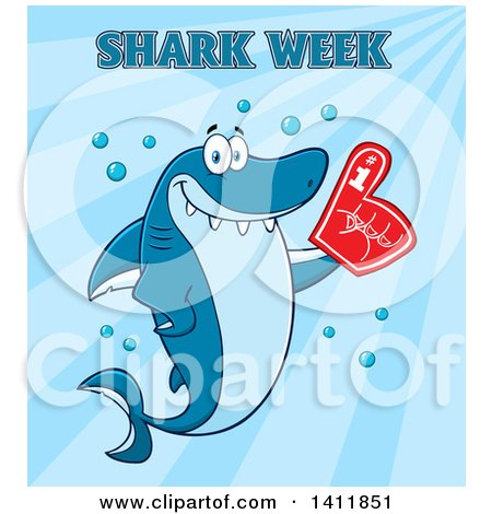 Clipart of a Cartoon Happy Shark Mascot Character Wearing a Foam Finger, with Text over Blue - Royalty Free Vector Illustration by Hit Toon