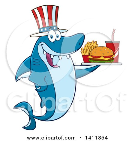 Clipart of a Cartoon Happy Patriotic American Shark Mascot Character Holding a Tray of Fast Food - Royalty Free Vector Illustration by Hit Toon