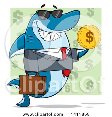 Clipart of a Cartoon Business Shark Mascot Character Wearing Sunglasses and Holding a USD Coin, over a Green Pattern - Royalty Free Vector Illustration by Hit Toon