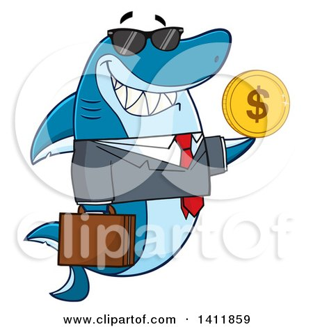 Clipart of a Cartoon Business Shark Mascot Character Wearing Sunglasses and Holding a USD Coin - Royalty Free Vector Illustration by Hit Toon
