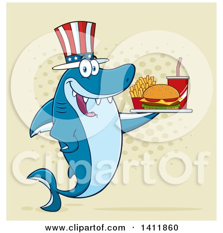 Clipart of a Cartoon Happy Patriotic American Shark Mascot Character Holding a Tray of Fast Food over Halftone - Royalty Free Vector Illustration by Hit Toon