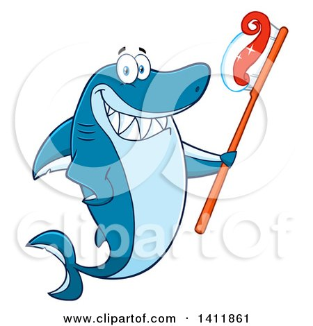 Clipart of a Cartoon Happy Shark Mascot Character Holding a Toothbrush - Royalty Free Vector Illustration by Hit Toon