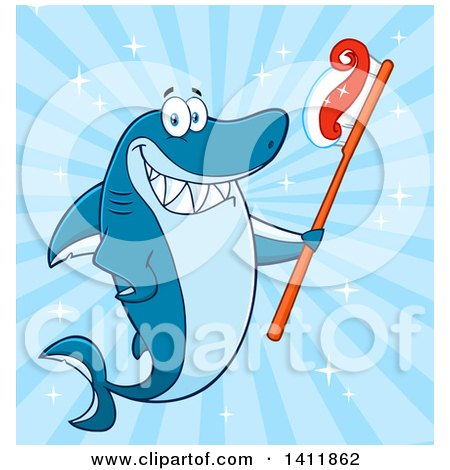 Clipart of a Cartoon Happy Shark Mascot Character Holding a Toothbrush, over Blue - Royalty Free Vector Illustration by Hit Toon