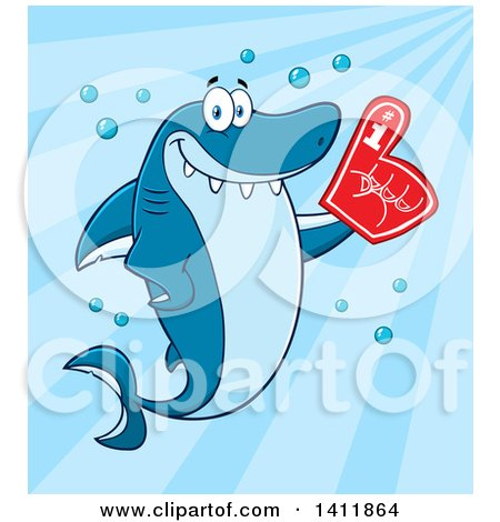 Clipart of a Cartoon Happy Shark Mascot Character Wearing a Foam Finger, over Blue - Royalty Free Vector Illustration by Hit Toon