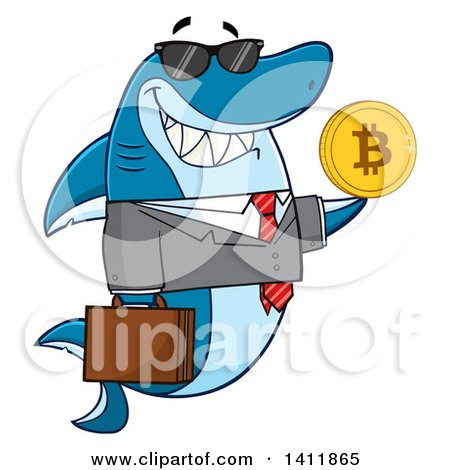 Clipart of a Cartoon Happy Business Shark Mascot Character Holding a Goden Bitcoin - Royalty Free Vector Illustration by Hit Toon