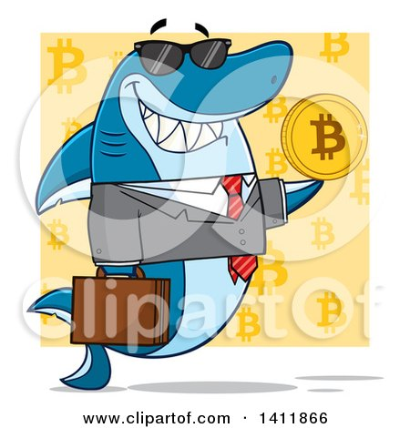 Clipart of a Cartoon Happy Business Shark Mascot Character Holding a Goden Bitcoin, over a Yellow Pattern - Royalty Free Vector Illustration by Hit Toon