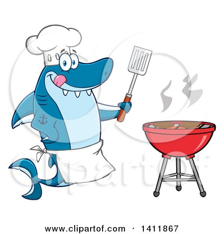 Clipart of a Cartoon Happy Shark Chef Mascot Character Cooking Beef Patties on a Bbq - Royalty Free Vector Illustration by Hit Toon