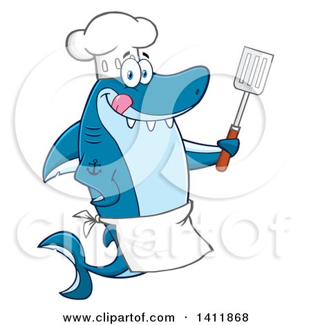 Clipart of a Cartoon Happy Shark Chef Mascot Character Holding a Spatula and Licking His Lips - Royalty Free Vector Illustration by Hit Toon