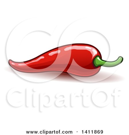 Clipart of a Spicy Hot Red Chili Pepper - Royalty Free Vector Illustration by yayayoyo