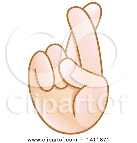 clipart of a hand emoji with crossed fingers royalty free vector rh clipartof com fingers crossed behind back clipart Fingers Crossed Emoji