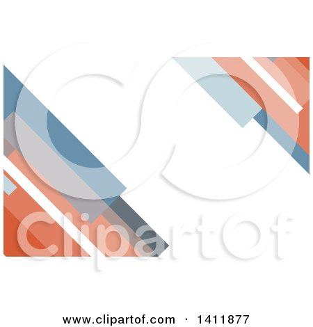 Clipart of a Background or Business Card Design with Blue Gray and Red Stripes - Royalty Free Vector Illustration by KJ Pargeter