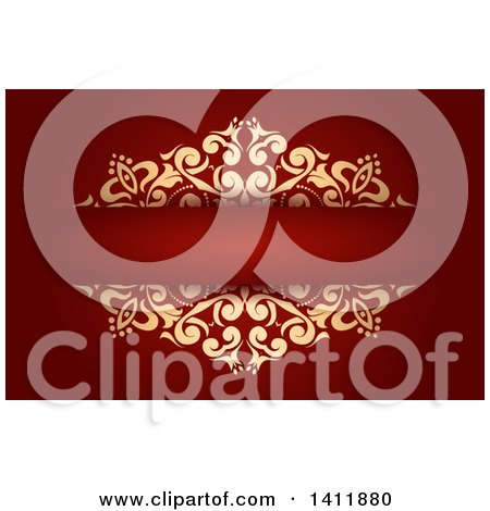 Background or Business Card Design with Ornate Gold Foliage on Red Posters, Art Prints