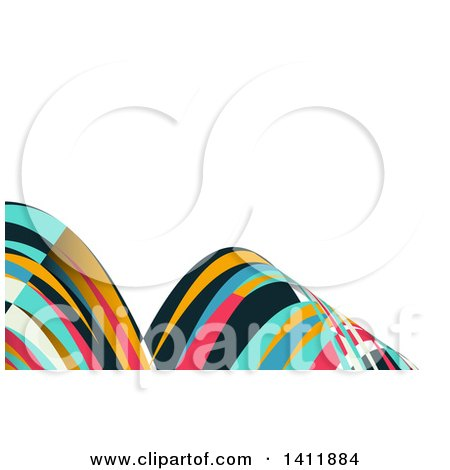Clipart of a Background or Business Card Design with Colorful Waves - Royalty Free Vector Illustration by KJ Pargeter