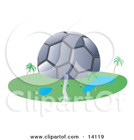 Soccer Ball Shaped Building Posters, Art Prints