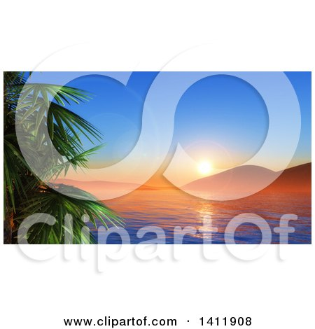 Clipart of a 3d Landscape of a Tropical Ban and Palm Trees at Sunset - Royalty Free Illustration by KJ Pargeter