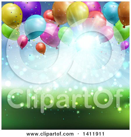 Clipart of a Party Background of 3d Balloons over Blurred Sky and Grass - Royalty Free Vector Illustration by KJ Pargeter