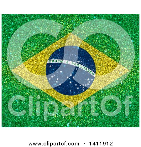 Clipart of a Glittery Brazil Flag Background - Royalty Free Illustration by KJ Pargeter