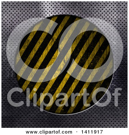 Clipart of a Frame of Perforated Metal Around a Circle of Hazard Stripes - Royalty Free Illustration by KJ Pargeter