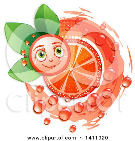 Clipart of a Pink Grapefruit Character with a Juicy Slice over Leaves - Royalty Free Vector Illustration by merlinul