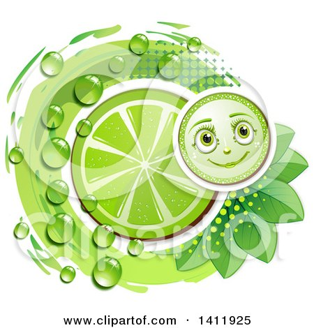Clipart of a Lime Character with a Slice, Drops and Leaves - Royalty Free Vector Illustration by merlinul