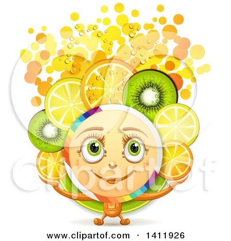 Clipart of a Character with Fruit Slices and Bubbles - Royalty Free Vector Illustration by merlinul