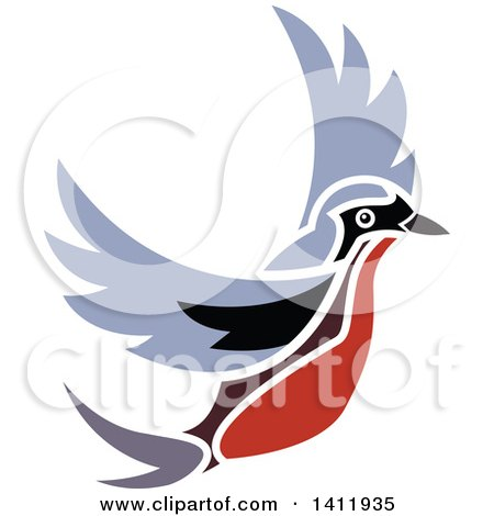 Clipart of a Flying Robin Bird - Royalty Free Vector Illustration by dero