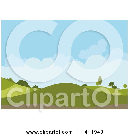 Clipart of a Hilly Landscape Background with Blue Sky and Puffy Clouds - Royalty Free Vector Illustration by dero