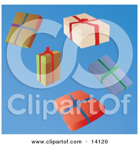 Five Wrapped Christmas Presents Clipart Illustration by Rasmussen Images