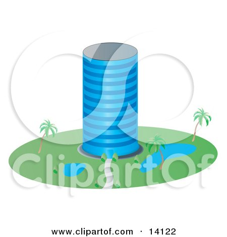 Circular Glass Building With Ponds and Palm Trees in the Landscape Posters, Art Prints