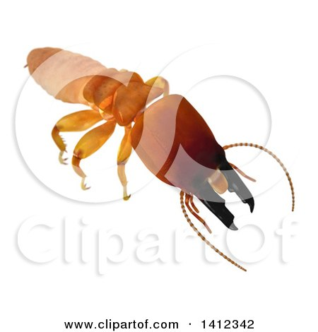 Clipart of a 3d Termite Soldier from the Front - Royalty Free Illustration by Leo Blanchette