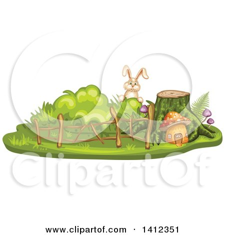Clipart of a Rabbit Peeking over a Tree Stump and Mushroom House - Royalty Free Vector Illustration by merlinul
