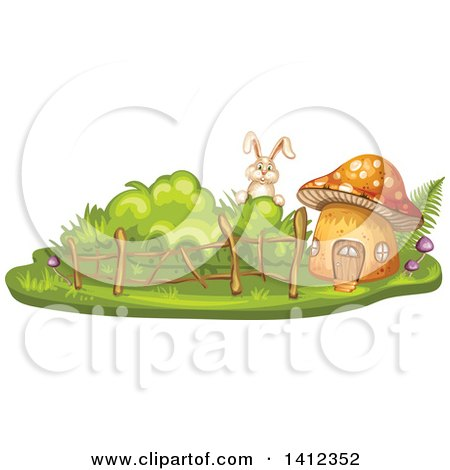Clipart of a Rabbit Peeking at a Mushroom House - Royalty Free Vector Illustration by merlinul