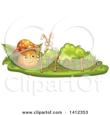 Clipart of a Rabbit Peeking at a Mushroom - Royalty Free Vector Illustration by merlinul