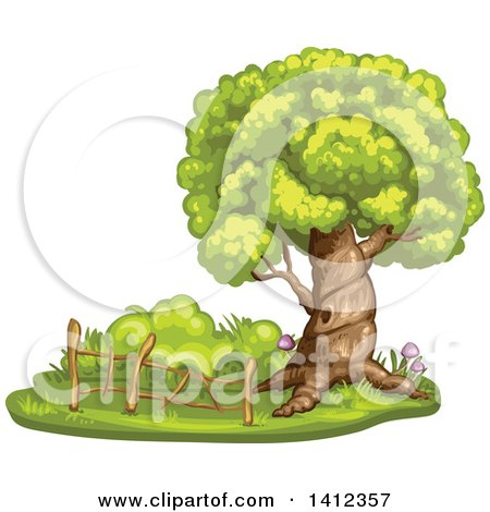 Clipart of a Mature Tree with a Hollow and Wood Fence - Royalty Free Vector Illustration by merlinul