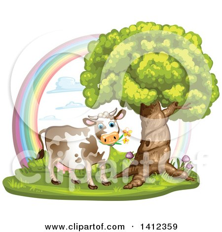 Clipart of a Cow Grazing Under a Tree Against a Rainbow - Royalty Free Vector Illustration by merlinul