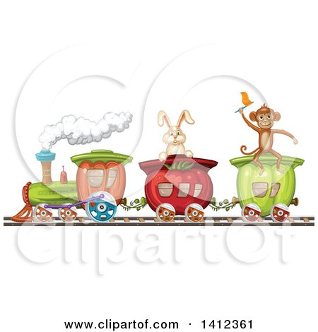 Clipart of a Monkey and Rabbit Riding a Vegetable Train - Royalty Free Vector Illustration by merlinul