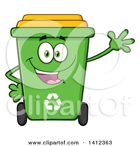 Clipart of a Cartoon Green Recycle Bin Character Waving - Royalty Free Vector Illustration by Hit Toon
