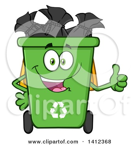 Clipart of a Cartoon Green Recycle Bin Character Full of Bags, Giving a Thumb up - Royalty Free Vector Illustration by Hit Toon