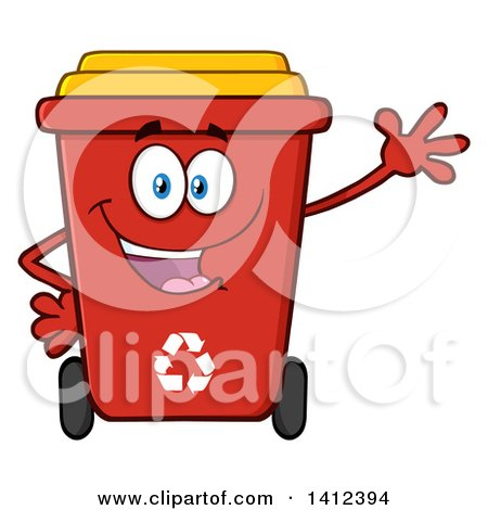 Clipart of a Cartoon Red Recycle Bin Character Waving - Royalty Free Vector Illustration by Hit Toon