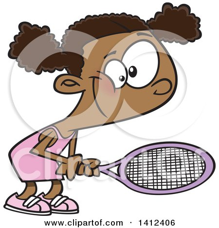Clipart Of A Cartoon African American Girl Playing Tennis Royalty Free Vector Illustration